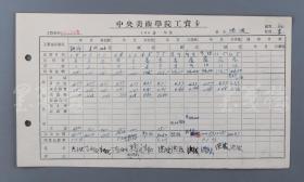 """著名畫家、原中央美院黨委書記 洪波 1964年簽名 """"中央美術學院工資卡"""" 一件(有多處洪波親筆簽名)  HXTX102206"""