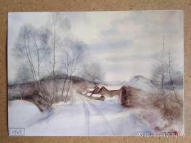 水粉画参展作品签名照片 《冬寂》 作者:伍长文