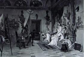 """1886年意大利艺术系列凹版蚀版画《帕里斯的评判》—意大利画家""""G.B.QUADRONE""""作品 42x29cm"""