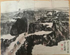 陈天然书法国画罕见山水国画老纸老墨老作品 当代中国书画家版画家图片