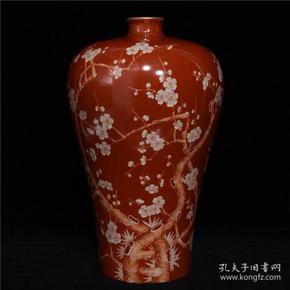 雍正矾红竹梅纹梅瓶19GL