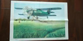 1960年出版印刷 彩色宣传画 2开 《安二型飞机》刘逸枫 绘  私藏近全新 厚纸
