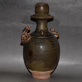 宋代南宋时期建阳窑灰白釉乌泥建老瓷器古董瓷器老包浆酒器皿壶温润如玉,为瓷中之珍品,可遇不可求,难得一见