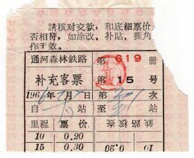 新中国火车票----世界里程最长森林窄轨铁路--1966年通河森林铁路