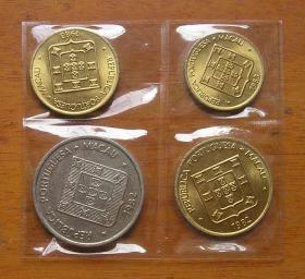 葡属澳门时期硬币 福 禄 寿 鱼封装币4枚(3枚铜币BU全新品) 吉语钱