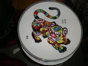 十二生肖 瓷 盘  盘子 虎