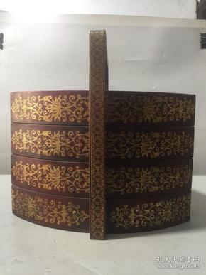 收来的漆器三层食盒