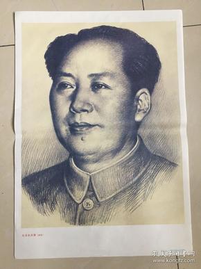 八九十年代宣传画,毛泽东肖像,陕西人民美术出版社出版