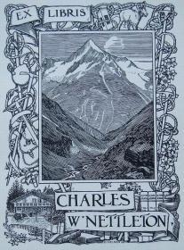 """""""新艺术名作""""英国艺术家""""Harold E.H.Nelson""""线刻藏书票—《山峰》1904"""
