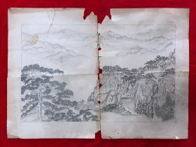 铅笔画原作,99,山水画,4开