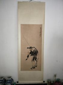 旧藏家中收藏老渔翁钓鱼老画,画工精湛,包老