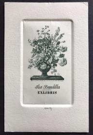 德国铜版雕刻版画藏书票原作 瓶花