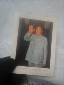 伟大的导师 伟大的领袖 伟大的统帅 伟大的舵手毛主席万岁  32开 彩图一张
