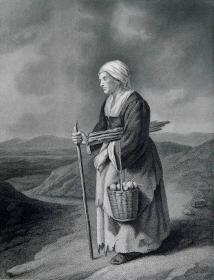 """1869年维也纳画廊钢板画系列 —《老母亲》 """"Gilles Von Tilburg """"作品26.5x21.5cm"""