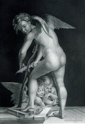 """1869年维也纳画廊钢板画系列 —《雕弓的天使》 """"Parmeggianino """"作品26.5x21.5cm"""