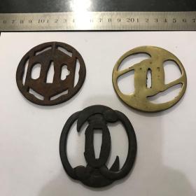 日本回流刀镡刀挡 两个铁一个铜3个合售 保证日本回流包老