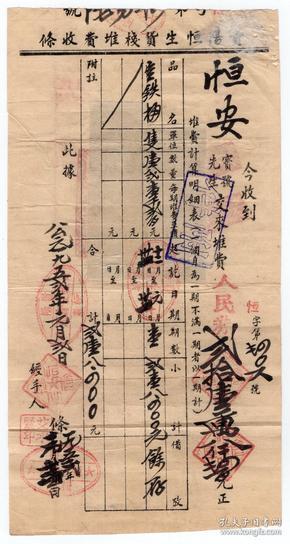 西南区税票类----1952年贵阳恒生货栈推费收条, 贴税票6张