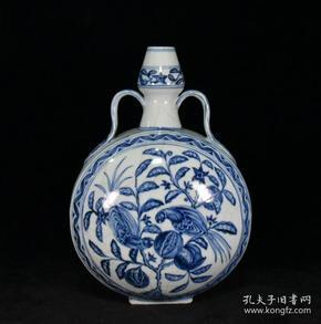 明永乐青花开片鸟食图双耳蒜头扁瓶29.5x20.5x13.5