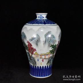 清乾隆青花粉彩描金山水梅瓶 34x20