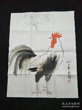 国画、字画、【金鸡图】徐悲鸿字样款,手绘画,详情看图,其它请自鉴!