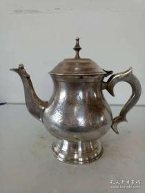 纯铜鎏银壶·铜壶·实心手把手工刻花茶壶·水壶·稀少.【包老保真】重量909克·实物拍照·详情见图