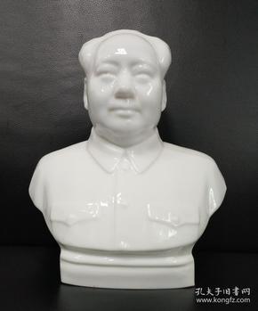 文革料器:《毛主席半身玻璃像》高24cm,少见材质