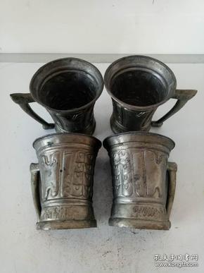 纯紫铜鎏锡酒杯·水杯·手把茶杯·四个一套·老物件·稀少包老保真·四个重量538克