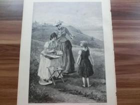【現貨 包郵】1890年木刻版畫《小模特》 (Das ungeschickte modell)    尺寸約41*28厘米 (貨號602128)