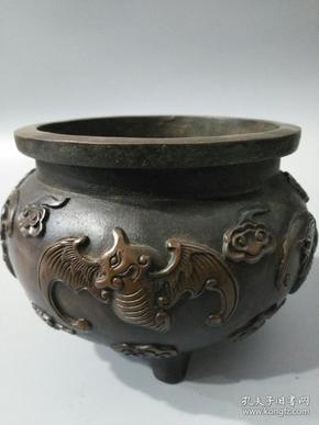 旧藏宣德年制纯铜五福香炉 器形精巧包浆温润造型生动古朴雅致