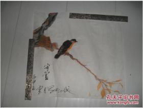 著名画家中国美术家协会会员军旅画家张守堂先生早期精品国画:花鸟斗方