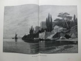 【现货 包邮】1890年巨幅木刻版画《尼禄的豪宅》( Die Villa des Nero )  尺寸约56*41厘米 尺寸约56*41厘米 (货号601082)