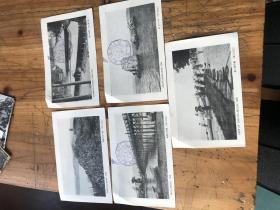 3021:民国日本明信片 近江八景 4张,比叡山根本中堂1张,其中有三张有比叡丸游览纪念图章