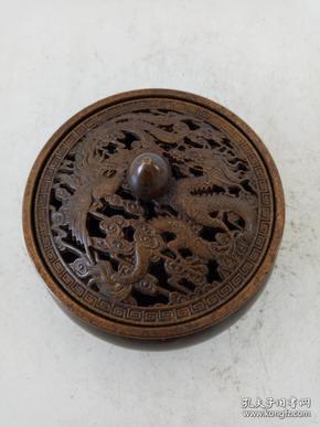 纯铜香炉·熏香炉·龙凤呈祥熏香·家居摆件·重量464克.