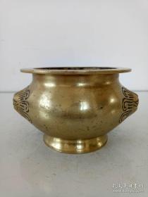纯铜香炉·双面狮子头香炉·老物件·重量692克.