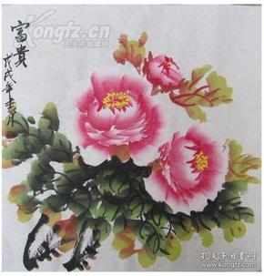 名家手绘国画牡丹花:富贵