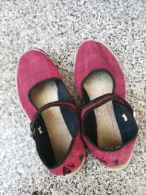 旧鞋女士一带鞋37码布底千层手纳底红色