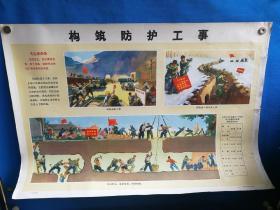 1971年宣传画三防挂图十构筑防护工事对开挂图