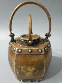 海外回流民国三年老黄铜十二生肖温酒壶 壶中壶一件 提梁壶热水壶
