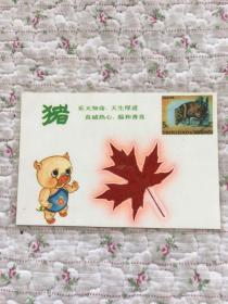 卡片:《猪》乐天知命,天生厚道,真诚热心,温和善良(付红叶一片)