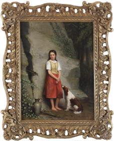 英国19世纪古董人物油画 尺寸:51×32CM 作者:(英)伦纳德.德.科宁(1810-1887) 画面描绘了一位美丽的少女在山涧取水的场景,作者伦纳德是伦敦人,荷兰风景画家伦德特.德.科宁的儿子  89843#