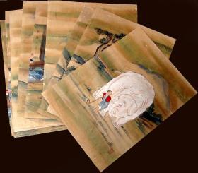 清代-《人物故事》大畫片十七幅。