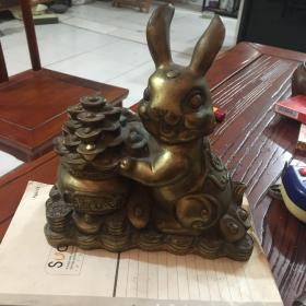 铜兔子摆件