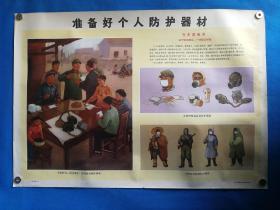 1971年宣传画三防挂图十五准备好个人防护器材对开挂图