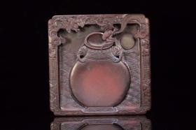 """晚清,紫端石""""双象耳赏瓶 福在眼前""""四方砚"""