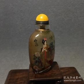 古董古玩收藏叶仲三款琉璃内画杨贵妃鼻烟壶