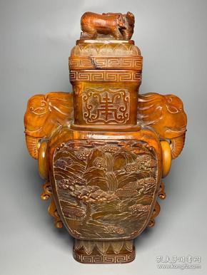 牛角雕刻山水人物象耳瓶