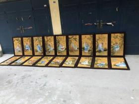 旧藏郎世宁作品纯手绘红木镶瓷板画十八罗汉一套'单块尺寸高90厘米,宽53厘米