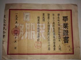 一九五五年林业部吉林林业学校毕业证1955年
