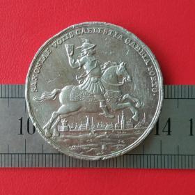 外国硬币港口的改变戴帽人骑马持令牌图案十二生肖相属马收藏珍藏