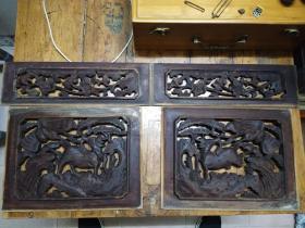 清代 杉木板镂空雕刻――鹿 四块合售